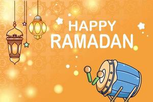Lantern and mosque drum background happy ramadan cartoon illustration vector