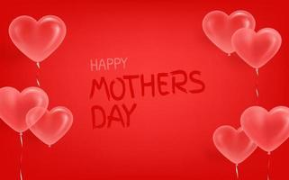 Banner with air balloons on red wall. Happy mothers day vector