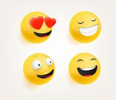 Emoticons in cute 3d style vector set isolated on white. Love, laugh, smiling