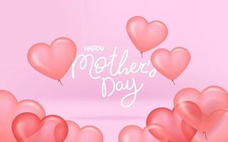 Happy mothers day pink vector banner with balloons