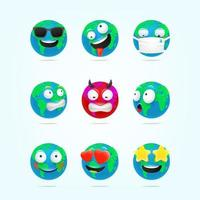 Cute Earth character emoticons vector set. 3d style funny Earth characters