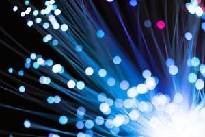 luces de fibra azul con puntos desenfocados foto