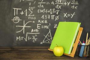 Book holder with book stationery near blackboard photo