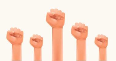 hombres puños en el aire. huelga o concepto de poder humano vector