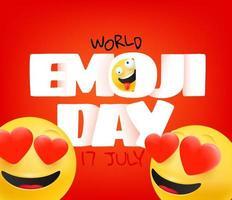 tarjeta de felicitación del día mundial del emoji. feliz tarjeta de felicitación del vector del día de emoji. 17 de julio