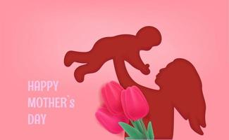 Woman holding a baby. Happy Mothers day vector banner. Cut out effect with woman silhouette
