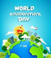 Banner del día mundial del medio ambiente el 5 de junio. Ilustración de vector de estilo 3d de dibujos animados con efecto plastilina