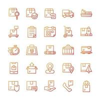 Set of Shipping icons with gradient style. vector