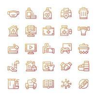 conjunto de iconos de cuarentena con estilo degradado. vector