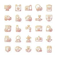 Set of Eco Green icons with gradient style. vector