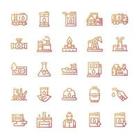 Set of Oil industry icons with gradient style. vector