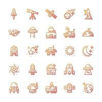 Set of Space icons with gradient style. vector
