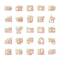 Set of Secure payment icons with gradient style. vector