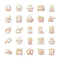 Set of Cooking icons with gradient style. vector
