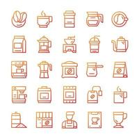 Set of Coffee icons with gradient style. vector