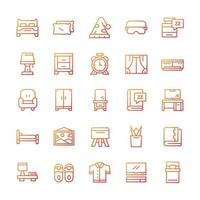 Set of Bedroom icons with gradient style. vector