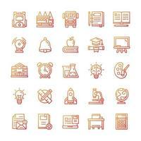 conjunto de iconos de regreso a la escuela con estilo degradado. vector
