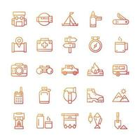 Set of Hiking Camping icons with gradient style. vector