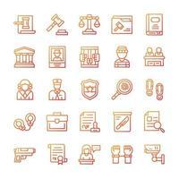 conjunto de iconos de justicia y derecho con estilo degradado. vector