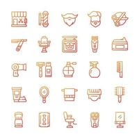 Set of Barbershop icons with gradient style. vector