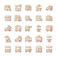 Set of Stand food icons with gradient style. vector