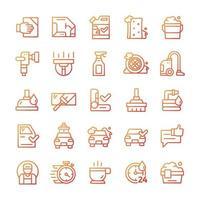 conjunto de iconos de lavado de autos con estilo degradado. vector