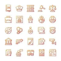 Set of Justice icons with gradient style. vector