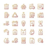 Set of Ecology icons with gradient style. vector