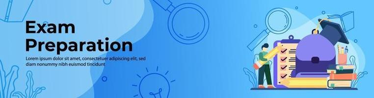 Exam Preparation Web Banner Design vector