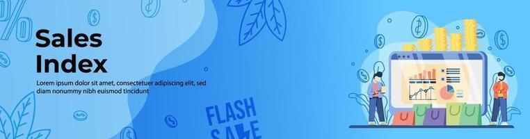 diseño de banner web de índice de ventas vector