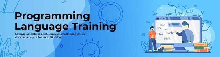 Programming language training Web Banner vector