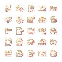 conjunto de iconos de protección y seguridad con estilo degradado. vector