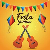 Festa junina invitation card with creative colorful party flag and paper lantern and guitar vector