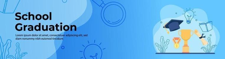 diseño de banner web de educación vector