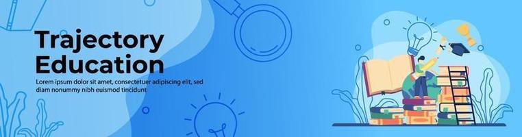 trayectoria educación concepto diseño de banner web. los estudiantes caminan por trayectorias educativas para hacer realidad sus sueños. educación en línea, aula digital. concepto de e-learning. banner de encabezado o pie de página. vector