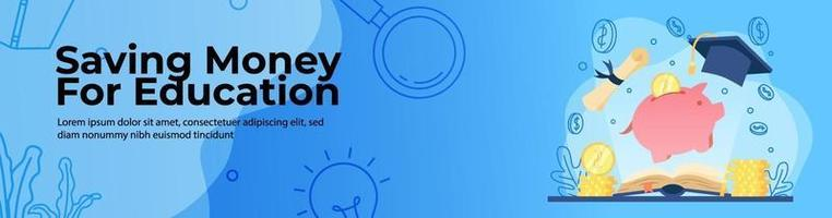 Saving Money for education Web Banner Design. open book with light and piggy bank with gold coin. scholarship, student loan concept. header or footer banner. vector
