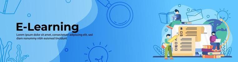 Diseño de banner web e-learning. los estudiantes toman exámenes en línea durante las clases en línea. educación en línea, aula digital. concepto de e-learning. banner de encabezado o pie de página. vector