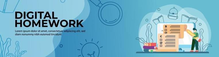 Diseño de banner web de tarea digital. los estudiantes realizan exámenes en línea en la web de educación. educación en línea, aula digital. concepto de e-learning. banner de encabezado o pie de página. vector