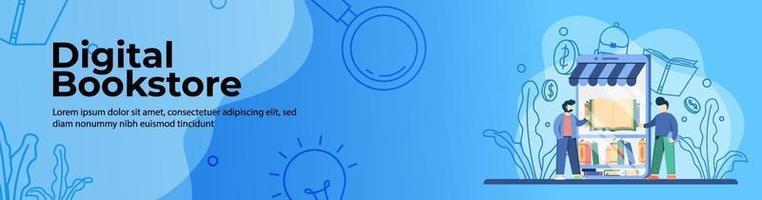 librería digital para el diseño de banners web de educación. estudiante compra libro en la plataforma de librería en línea. educación en línea, aula digital. concepto de e-learning. banner de encabezado o pie de página. vector