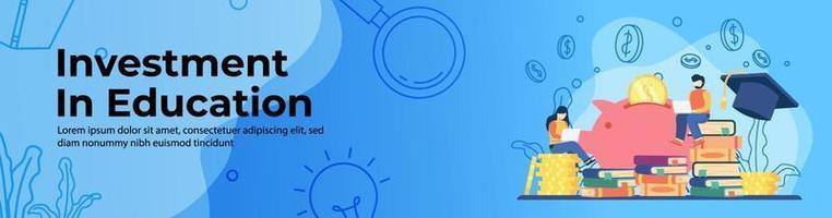 Diseño de banner web de educación de inversión. los estudiantes estudian en una pila de libros y una pila de monedas con una alcancía. ahorrando dinero para educación, becas, préstamos estudiantiles. Ilustración de banner de encabezado o pie de página vector