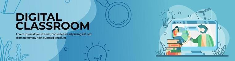 diseño de banner web de aula digital. estudiante viendo al profesor en la plataforma de educación web en línea. educación en línea, aula digital. concepto de e-learning. banner de encabezado o pie de página. vector
