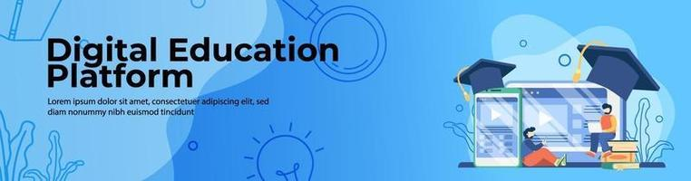 Diseño de banner web de plataforma de educación digital. los estudiantes acceden a la plataforma de educación en línea en una computadora portátil y un teléfono móvil. educación en línea, aula digital. concepto de e-learning. banner de encabezado o pie de página. vector