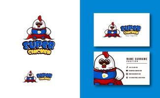 kawaii character mascot. cute Super Chicken mascot logo. adorable character. vector illustration