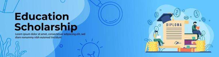 diseño de banner web de becas de educación. los estudiantes estudian en una pila de monedas y libros con un gran papel de diploma desenrollado. educación en línea, aula digital. concepto de e-learning. banner de encabezado o pie de página. vector