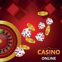 Casino online realistic gold coin, dice and roulette wheel vector