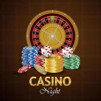 Casino gambling game with gold coin, chips, roulette wheel and dice vector