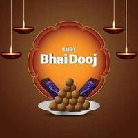 festival indio de feliz bhai dooj celebración tarjeta de felicitación con elementos vectoriales creativos vector