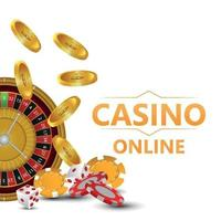 Casino roulette wheel with playing cards, chips and dice on creative background vector