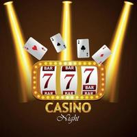 Casino night party background with creative slot machine, playing cards vector