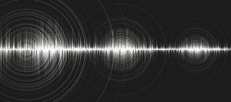 White Digital Sound Wave Low and Hight richter scale with Circle Vibration on Black Background,technology and earthquake wave  diagram concept,design for music studio and science,Vector Illustration. vector